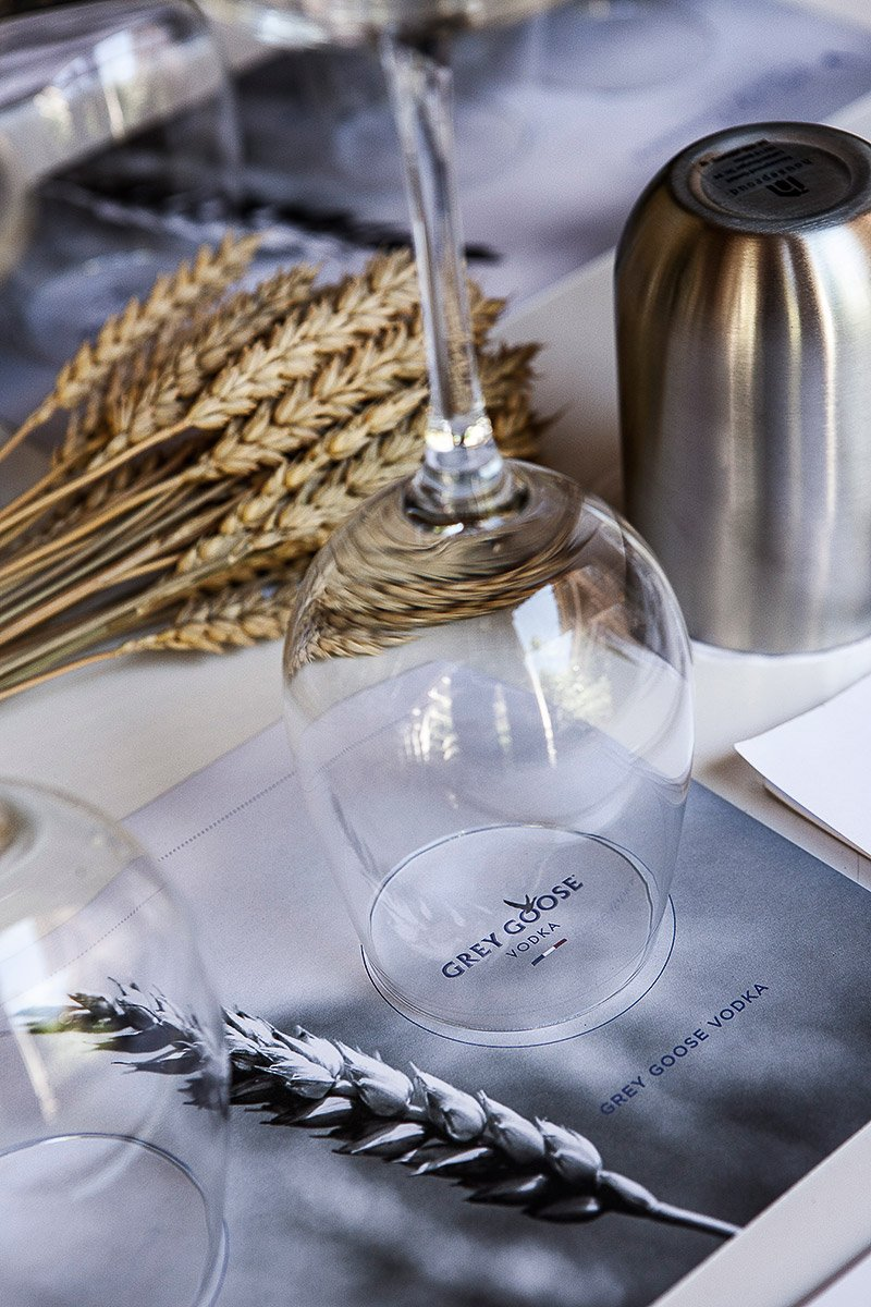 Detail of a table prepared for Grey Goose vodka tasting in Saint-Tropez during an incentive trip organized for Bacardi limited and photographed by Denis Dalmasso French photographer in south of France
