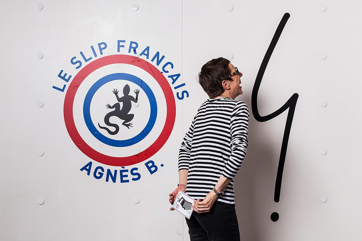 A woman posing during a photocall organized in Marseilles, France, by French corporate photographer Denis Dalmasso for Agnes b and Le Slip Français