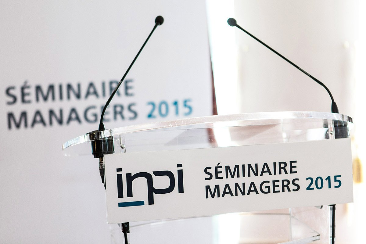 Detail of the reading desk with microphones at INPI manager seminar photographed by Denis Dalmasso Freelance photographer in France