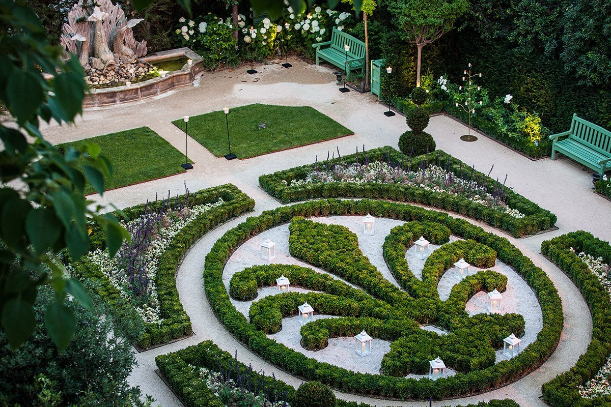 A view of French garden style of Hpotel de Caumont in Aix-en-Provence by Denis Dalmasso, photographer in south of France