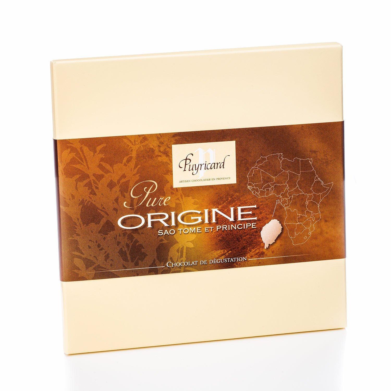 Packshot produit d une tablette de chocolat pure origine sao tome et principe de la chocolaterie Puyricard
