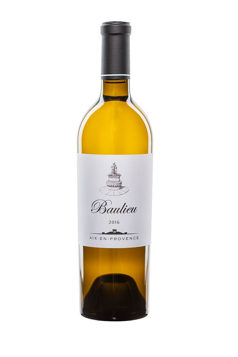 packshot d'une bouteille de vin blanc du chateau Baulieu